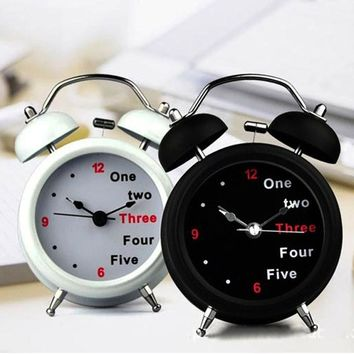 New Classic Number English Retro Double Bell Desk Table Alarm Clock Light Function Loud Hammer Two Bell Alarm carrying outdoor