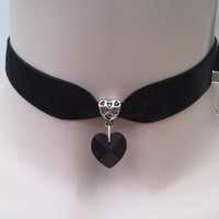 Large BLACK Glass HEART Charm Pendant  -  Black Velvet Ribbon Choker Necklace -qv... or choose another colour velvet or heart :)
