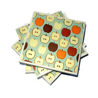 Fall Apple Ceramic Coasters, Set of Four