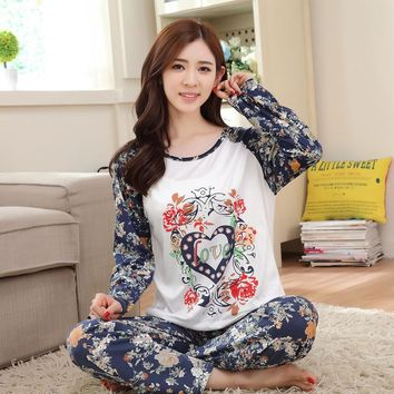 free shipping New 2017 Spring&Autumn womem pyjamas Cute Cartoon thin female pajama sets sleepwear girl coral fleece pajamas