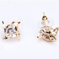 Zircon crystal earrings, water cube studs, female fashion personality