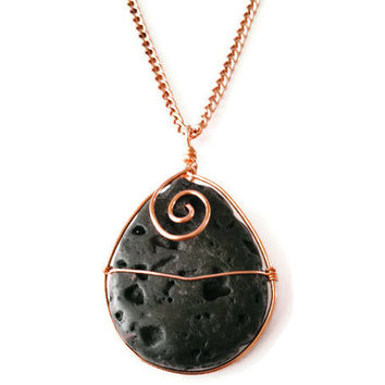 Sale - Copper and Tear Drop Lava Stone Pendant Aromatherapy Necklace. Essential Oil Diffusing Stone Necklace.