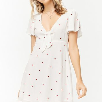 Embroidered Tie-Front Dress