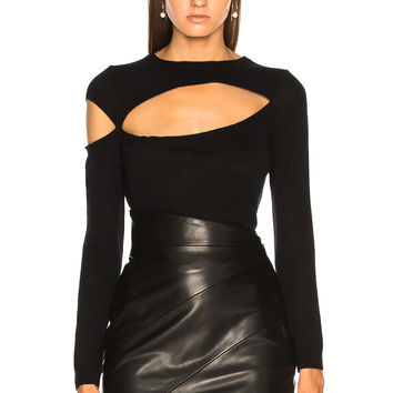 Michelle Mason Asymmetrical Cut Out Sweater in Black | FWRD