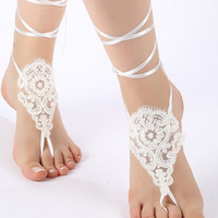 Free Ship ivory black or blush , lariat sandals, laceBarefoot Sandals, french lace, Beach wedding barefoot sandals
