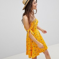 ASOS Mini Bandeau Skater Sundress in Floral Print at asos.com