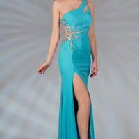 PRIMA C132506 Blue or White Cut Out Prom Dress