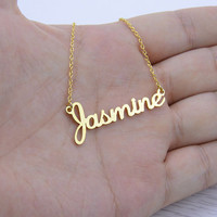 Name Necklace,Custom Necklace,Personalized Necklace,Unique Necklace,Silver Necklace,Nameplate Necklace,Bridesmaid Gift N029