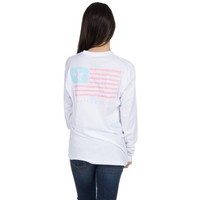 Magnolia Flag Long Sleeve Tee Shirt in White by Lauren James - FINAL SALE