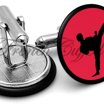 Martial Arts Kick Cufflinks