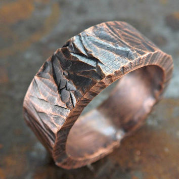 rugged copper ring thick copper ring rustic hammered ring sturdy mens ring steampunk ring rustic wedding ring
