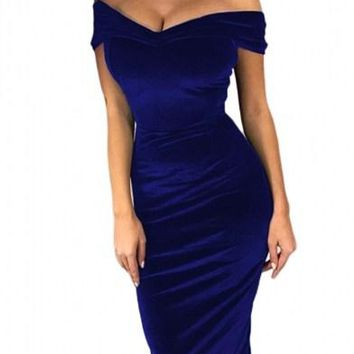 Blue Off Shoulder Ruched Bodycon Velvet Party Dress