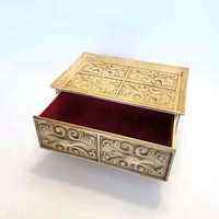 Vintage Lerners Melville Long Island New York Jewelry Box Ornate Brushed Gold Faux Wood Velvet Lined
