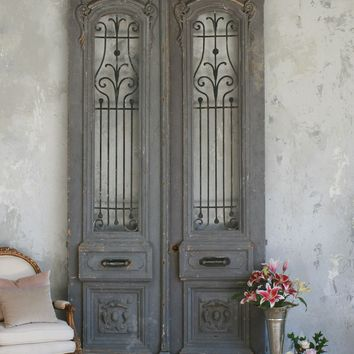 Vintage Large Scale Pair of Vintage Doors in Blue Grey c 1940 - The Bella Cottage
