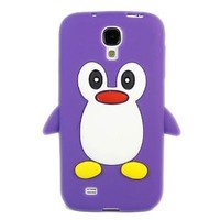 ivencase 3D Cute Penguin Silicone Soft Case Cover for Samsung Galaxy S4 S IV i9500 Purple + One phone sticker