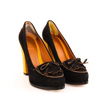 Fendi Black Pumps with Yellow Heel
