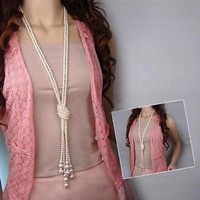 Women's Long Multi-layer Pearl Necklace Pendant Sweater Chain Jewelry Gift