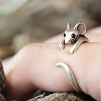 Mouse Ring Womens Girls Retro Burnished Rat Animal Ring Jewelry Adjustable Free Size Wrap Ring Black Crystal gift idea