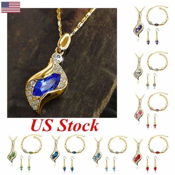 US New Gold Plated Elf jewellery Set Necklace Earrings Bracelet Pendant Wedding