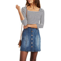 Textured Knit Striped Boat Neck Top