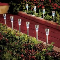 Set of 10 Stainless Steel Solar Stake Lights Outdoor Path Lighting Yard Decor