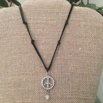 Peace Necklace, Black Leather Necklace, Crystal Peace Necklace, Peace Choker
