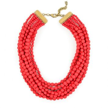 Multi Strand Matte Beaded Necklace