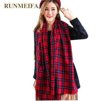 [RUNMEIFA]   Women's Winter Stole Plaid Scarves Tippet Wraps Brand Ladies Scarf Women Classic Neckerchief Shawls and Scarves