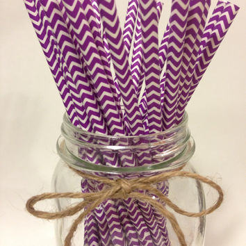 25 Purple Chevron paper straws // baby bridal shower decorations // candy dessert buffet table // wedding // First birthday/new year party