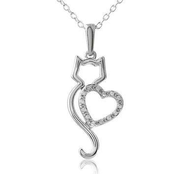 Silver Tone Hollow Heart Cat Shaped Crystal Pendant Necklace