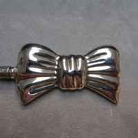 Vintage Sterling Silver Bow Perfume Snuff Bottle With Dabber