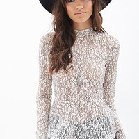 FOREVER 21 Floral Lace Peplum Top Cream/Black