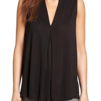 Halogen® Pleat Front V-Neck Top (Regular & Petite) | Nordstrom