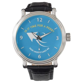 Blue and yellow beer quote wristwatch