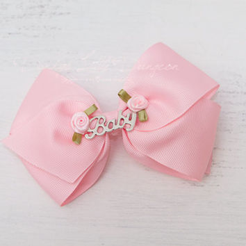 DDLG BDSM Cute Big Pink BABY Hairbow Bow Barrette Clip Rosette Flowers Rose Daddy's Little Girl Gift PetPlay Kitten Babygirl Cosplay mature