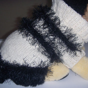 Dog clothes, cat clothes, dog sweater in  chunky cream knit trimmed with black fun fur knitting yarn fringe.
