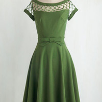 Vintage Inspired Long Cap Sleeves Fit & Flare With Only a Wink Dress in Peridot