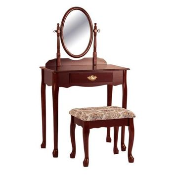 3 pc cherry finish wood vanity set with vanity table, mirror and bench Clearance