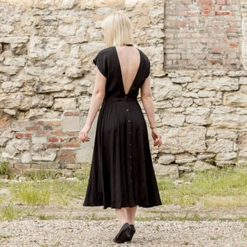 vintage black backless dress / mock neck dress / black midi dress / black maxi dress / rayon dress / black dress vintage / low back dress