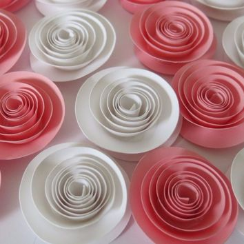 Pretty pink and white roses, package set of 12, Girl nursery decor, baby shower decorations, bridal party gift idea, hostess consultant present