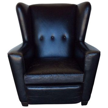 Pre-owned Vintage Black Leather Wing Chair