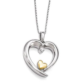 Sterling Silver & 14k Gold Arms Of Love Diamond Heart Necklace