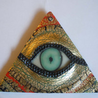 Glow in the Dark Illuminati Eye Pyramid OOAK Handmade Blacklight Art No231