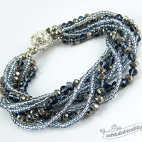 Blue Multi strand Crystal bracelet blue gray beaded jewelry multistrand bracelet gray crystal bracelet sparkly evening bracelet wedding gift
