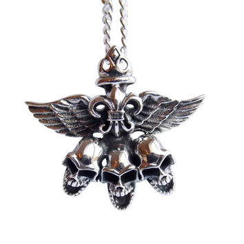 Skull Necklace Mens Necklace Skull Heads Boyfriend Gift Silver Chain Skull Wings Jewelry Sterling Silver Necklace Punk Rock Gothic Necklace