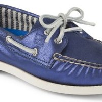 Sperry Top-Sider Authentic Original Metallic 2-Eye Boat Shoe Blue, Size 7M  Women's Shoes