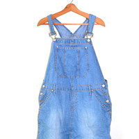 Denim Jumper Dress Denim Dress Denim Overall Dress 90s Grunge Grunge Dress Size 16 Missy