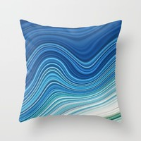 WAVES Throw Pillow by LEMAT WORKS
