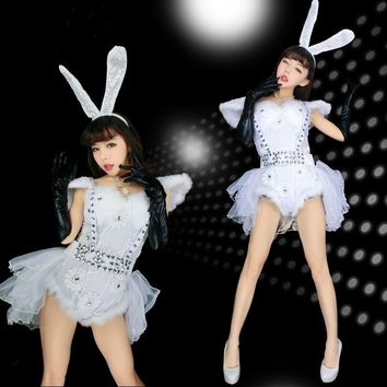 KTLPARTY cosplay DS lead dancer clothing party rabbit bunny lady costumes jumpsuit Sexy Bodysuit Bling Diamond dress headband