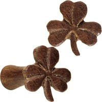 8 Gauge Organic Sabo Wood Shamrock Saddle Plug Set